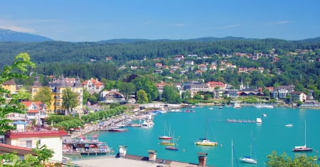 View over Velden at Lake Woerthersee,Carinthia,Austria