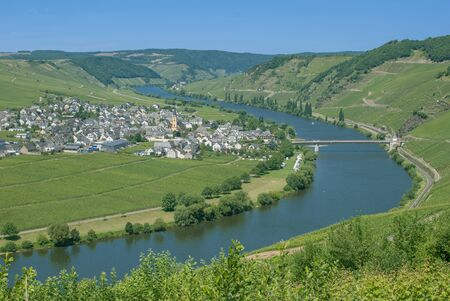 mosel: Village of Trittenheim at Mosel River in Mosel Valley,Germany Stock Photo