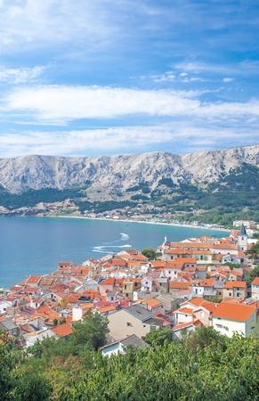 krk: View over the famous Village of Baska on Krk Island,Croatia Stock Photo