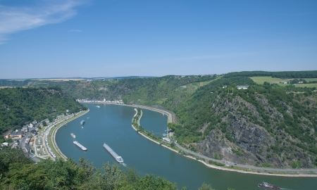 View to Loreley Rock at Rhine River,Germany
