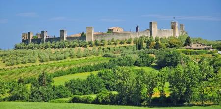 die berühmte mittelalterliche Dorf Monteriggioni Nähe von Siena in der Toskana, Italien Lizenzfreie Bilder