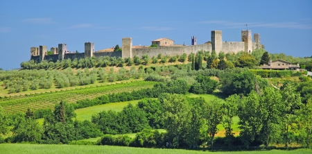the famous medieval Village of Monteriggioni near Siena in Tuscany,Italy  Stock Photo