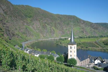 das berühmte Dorf von Bremm mit der steilsten Weinberg Europas, Mosel, Deutschland Lizenzfreie Bilder