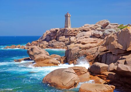 cote de granit rose: the famous Lighthouse of Ploumanach in Brittany,France