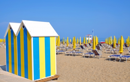 typical Beach at the venetian Riviera near Lido di Jesolo