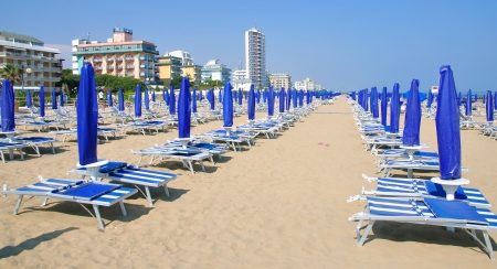 Beach of Lido di Jesolo at Venetian Riviera,adriatic Sea,Italy