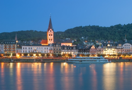 the famous Wine Village of Boppard at Rhine River,Germany Stock Photo
