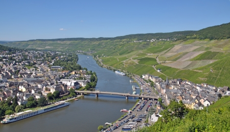 mosel: View over the famous Wine Village of Bernkastel-Kues at Mosel River,Germany Stock Photo