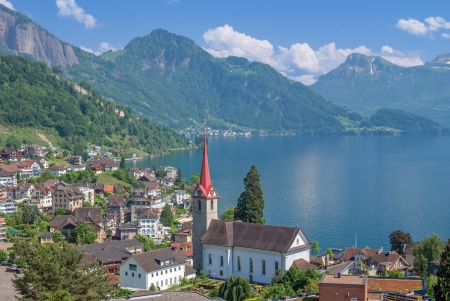Village of Weggis at Lake Lucerne,Lucerne Canton,Switzerland
