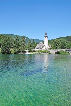 sveti: Church called Sveti Janez at Lake Bohinj near Bled,Slovenia