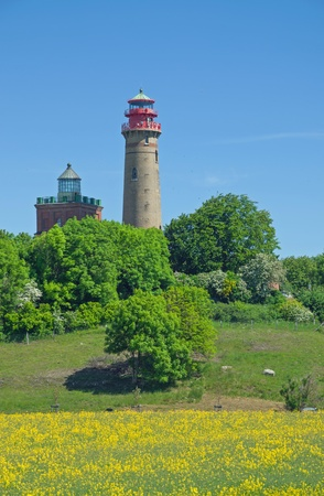 kap: Lighthouse at Kap Arkona,Ruegen Island,Mecklenburg-Vorpommern,Germany Stock Photo