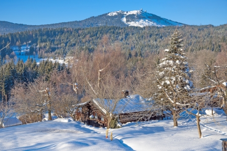 Winter im bayerischen Wald in der Nähe von Arber Region Bodenmais, Bayern, Deutschland