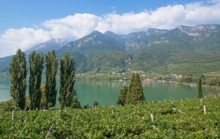 Kalterer See, den Kalterer See, Trentino, Südtirol Weinstraße, Italien