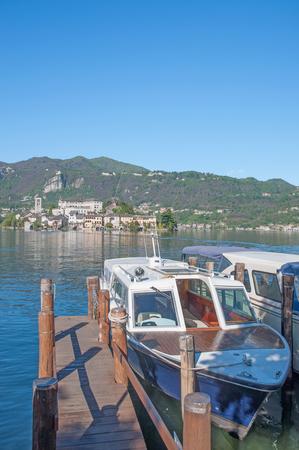 View to Isola San Giulio at Lake Orta,italian Lake District,Italy