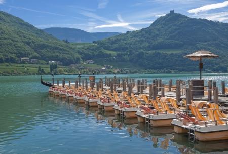Lake Caldaro at South Tyrolean Wine Route near Merano and Bolzano,South Tyrol,Italy