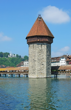 local landmark: the famous wooden Chapel Bridge,local Landmark of Lucerne,Switzerland