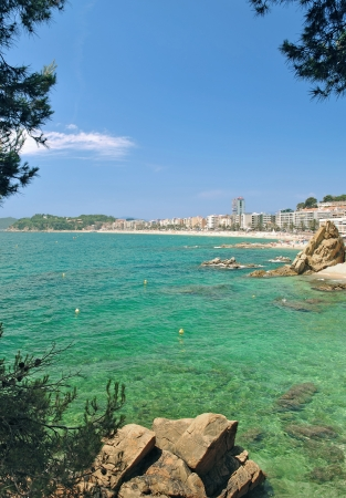 Beach and Village of Lloret de Mar,Costa Brava,Catalonia,Spain