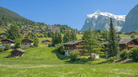oberland: Village of Grindelwald in Bernese Oberland,Switzerland Stock Photo