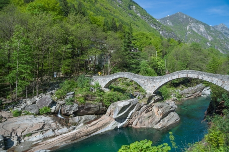 Ponte dei Salti,roman Bridge in Verzasca Valley,Ticino Canton,Switzerland
