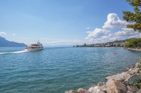 View from Promenade of Montreux at Lake Geneva,Vaud Canton,Switzerland