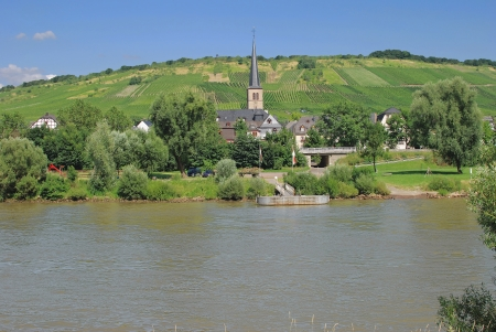 mosel: Wine Village of Rachtig at Mosel River in Mosel Valley, Rhineland-Palatinate, Germany