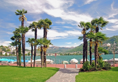 Lakeside Promenade of Lugano at Lake Lugano,Ticino Canton,Switzerland Standard-Bild