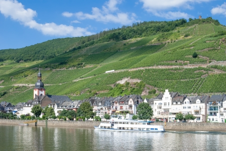 mosel: View of Zell an der Mosel,Mosel Valley,Mosel River,Germany