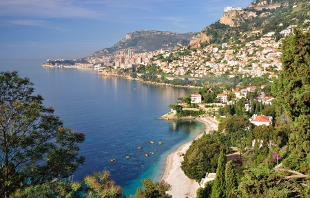 d���azur: View of Monaco at french Riviera,Cote d  Azur,South of France