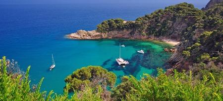 Küstenlandschaft in der Nähe von Tossa de Mar an der Costa Brava, Katalonien, Spanien