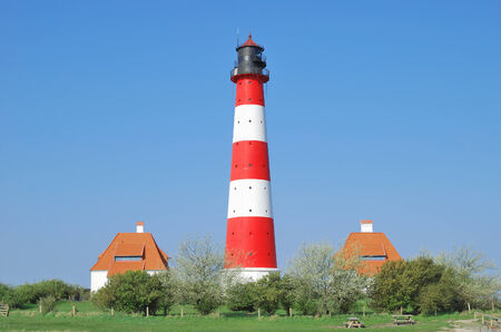 schleswig holstein: the famous Lighthouse of Westerhever,North Sea,Germany Stock Photo