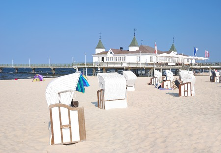 Beach of Ahlbeck,Usedom Island,baltic Sea,Mecklenburg-Vorpommern,Germany Stock Photo