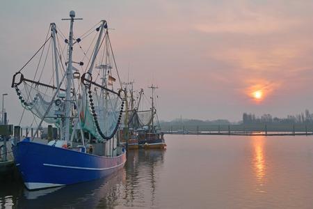 shrimp boat: Harbor of Greetsiel, East Frisia, North Sea, Germany Stock Photo