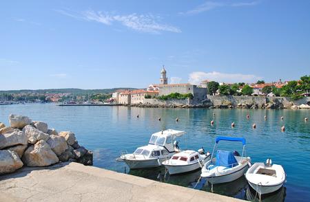 krk: Harbor of Krk Town on Krk Island,adriatic Sea,Croatia Stock Photo