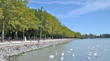 hungary: Lakeside Promenade of Balatonfuered,Lake Balaton,Hungary