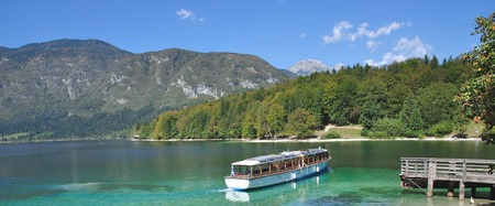 bled: Lake Bohinj near Bled,Triglav National Park,Julian Alps,Slovenia Stock Photo