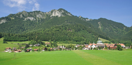 upper: Village of Ettal with Ettal Monastery,upper Bavaria,Germany