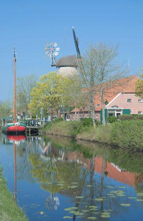 moorland: Fehnkanal or Moorland Canal,Ostgrossefehn,East Frisia,Germany Stock Photo