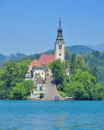 bled: Church of the Assumption,Lake Bled,Slovenia Stock Photo