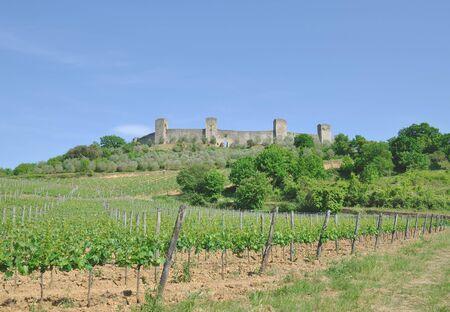 Monteriggioni at Chianti Wine Route near Siena,Tuscany,Italy Stock Photo