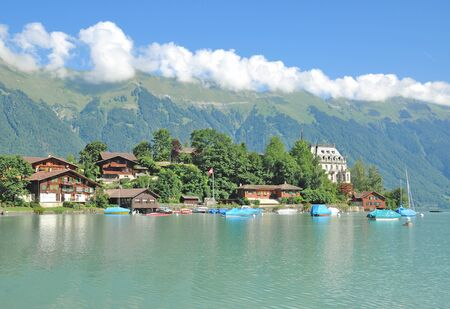 bernese oberland: Iseltwald,Lake Brienz,Bernese Oberland,Switzerland Stock Photo