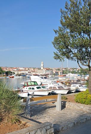 krk: Harbor of Krk Town on Krk Island in Kvarner at adriatic Sea,Croatia Stock Photo