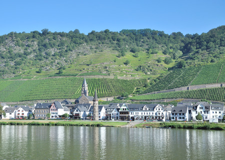 mosel: Wine Village of Hatzenport in Mosel Valley at Mosel River,Germany Stock Photo