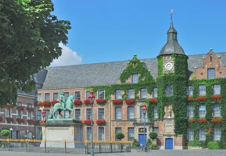 old town townhall: Town Hall in Old Town of Duesseldorf at Rhine River in North Rhine Westfalia,Germany