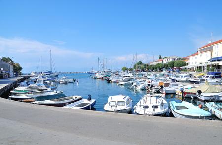 krk: Harbor of Malinska on Krk Island at adriatic Sea,Croatia