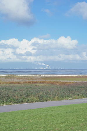 benelux: River Ems Estuary near Eemshaven in North Sea,Netherlands