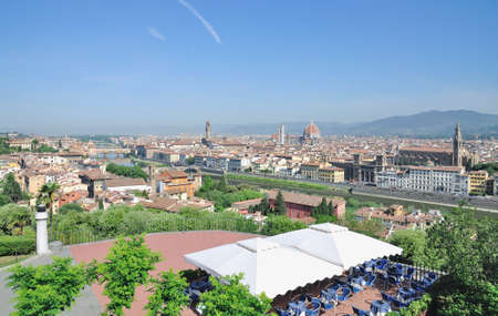 michelangelo: View from Piazzale Michelangelo to Florence,Tuscany,Italy Stock Photo