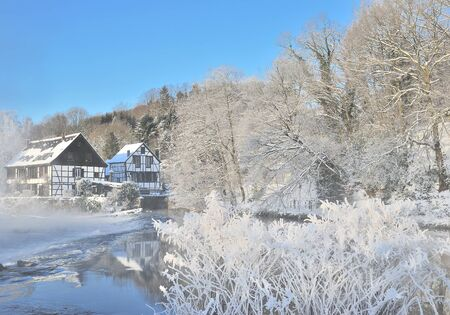 rhine westphalia: Wintertime at Wupper River near Solingen and Wuppertal,Bergisches Land,Germany