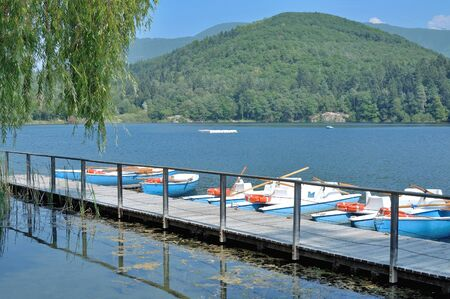 tirol: Great Lake Montiggler near Eppan and Merano,South Tirol,Italy Stock Photo