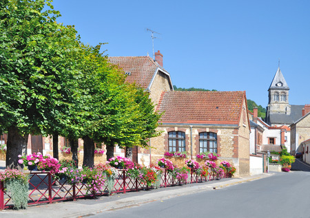 champagne region: idyllic Flower Village at Champagne Touristic Route near Epernay,France Stock Photo