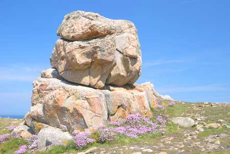 cote de granit rose: at Brittany Coast near Ploumanach called Cote de Granite Rose,North Sea,France